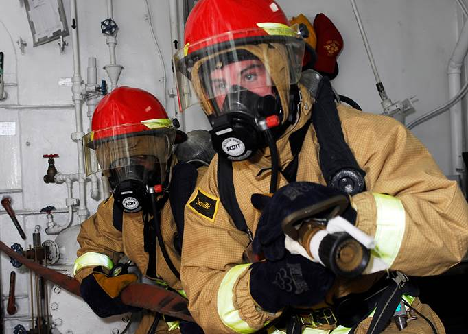 Fire fighters with masks